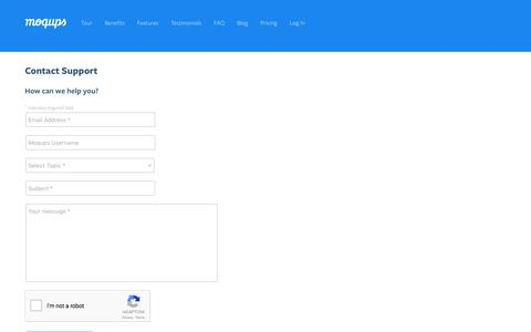 Screenshot of Support Page moqups.com - Online Mockup, Wireframe & UI Prototyping Tool · Moqups - captured March 20, 2017