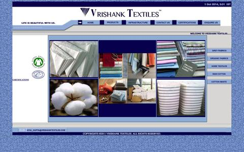 Screenshot of Home Page vrishanktextiles.com - Welcome to Vrishank Textiles - captured Sept. 30, 2014