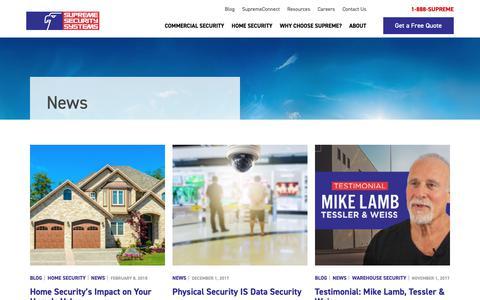 Screenshot of Press Page supremealarm.com - Supreme Security Systems | News - captured Oct. 18, 2018