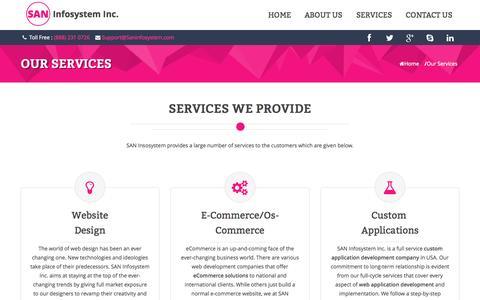 Screenshot of Services Page saninfosystem.com - SAN Infosystem Inc. - Services - captured Oct. 30, 2014