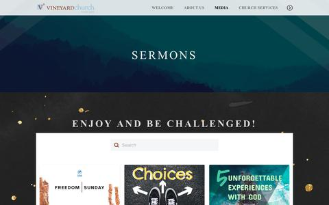 Screenshot of Press Page thevc.org - The Vineyard Church of Hyde Park | Sermons - captured Sept. 30, 2018