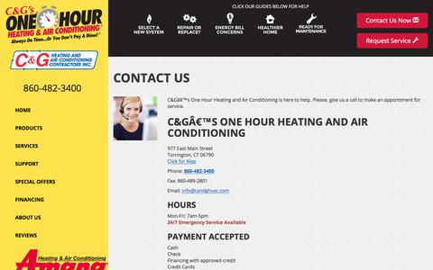 Screenshot of Contact Page candghvac.com - Contact Us - C&G's One Hour Heating and Air Conditioning, Torrington, CT  06790 -  Amana - captured Oct. 11, 2017