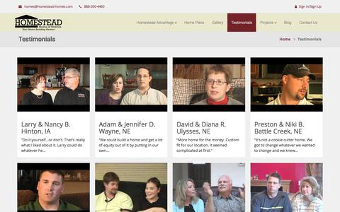 Screenshot of Testimonials Page homestead-homes.com - Testimonials - Homestead Homes - captured Aug. 29, 2017