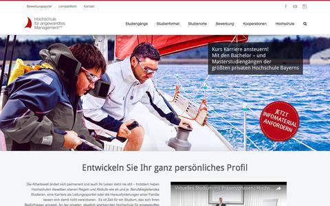 Screenshot of Home Page fham.de - Home - Hochschule für angewandtes Management - captured July 6, 2017