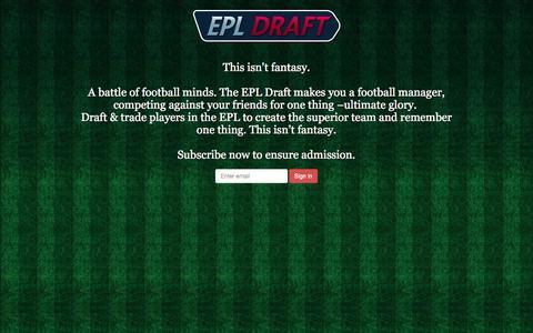 Screenshot of Home Page epldraft.com - EPL Draft - captured Oct. 6, 2014