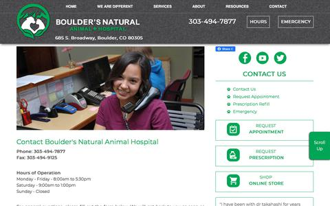 Screenshot of Contact Page Hours Page bouldersnaturalanimal.com - Contact Boulder's Natural Animal Hospital, 685 S Broadway, Boulder, CO 80305; 303-494-7877 - captured Jan. 6, 2020