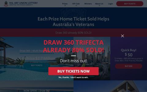 Screenshot of Home Page rslartunion.com.au - RSL Art Union   Prize Home Lotteries - Home - captured Nov. 1, 2018