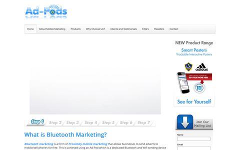 Screenshot of Home Page ad-pods.com - Ad-pods Bluetooth Marketing | Proximity Marketing | Bluetooth Advertising | Mobile Marketing - captured Oct. 3, 2018