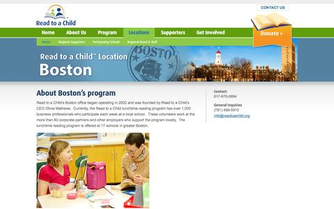 Screenshot of Locations Page readtoachild.org - Read to a Child: Boston - captured Sept. 30, 2014
