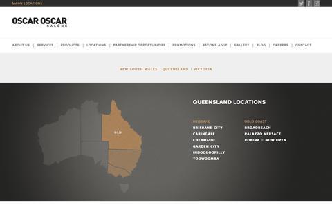 Screenshot of Locations Page oscaroscar.com.au - Oscar Oscar - Australia's Best Luxury Hairdressing Salons - captured Oct. 6, 2014