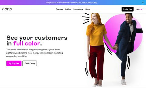 Screenshot of Home Page drip.com - Drip Ecommerce CRM (ECRM) - Marketing Automation for Ecommerce - captured Jan. 14, 2018