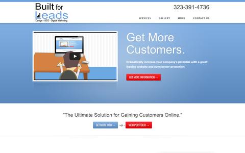 Screenshot of Home Page built4leads.com - Built for Leads - captured Oct. 5, 2014