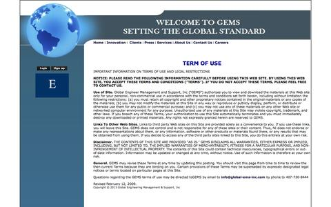 Screenshot of Terms Page global-ems-inc.com - GEMS-Term Of Use - captured Oct. 2, 2014