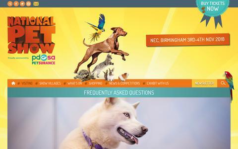 Screenshot of FAQ Page thenationalpetshow.com - FAQs| National Pet Show - captured Oct. 23, 2018