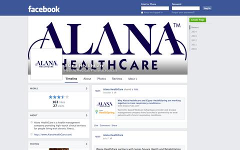 Screenshot of Facebook Page facebook.com - Alana HealthCare - Nashville, TN - Health/Medical/Pharmaceuticals | Facebook - captured Oct. 22, 2014