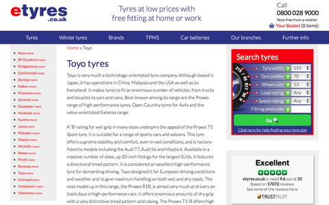 Cheap Toyo tyres : With Free Mobile Fitting - etyres