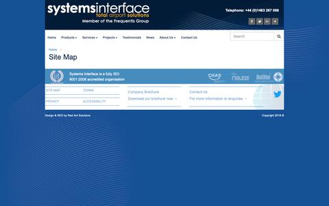 Screenshot of Site Map Page systemsinterface.com - Site Map | Systems Interface - captured Oct. 18, 2018