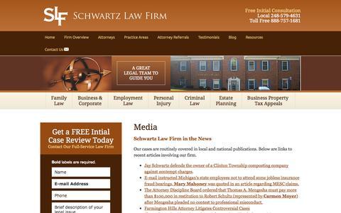 Screenshot of Press Page schwartzlawfirmpc.com - Media | Schwartz Law Firm | Farmington Hills, Michigan, Oakland County, Detroit - captured Sept. 30, 2014