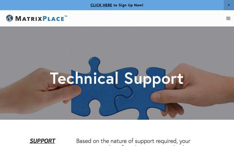 Screenshot of Support Page matrixplace.com - Technical Support — MatrixPlace - captured Sept. 26, 2018