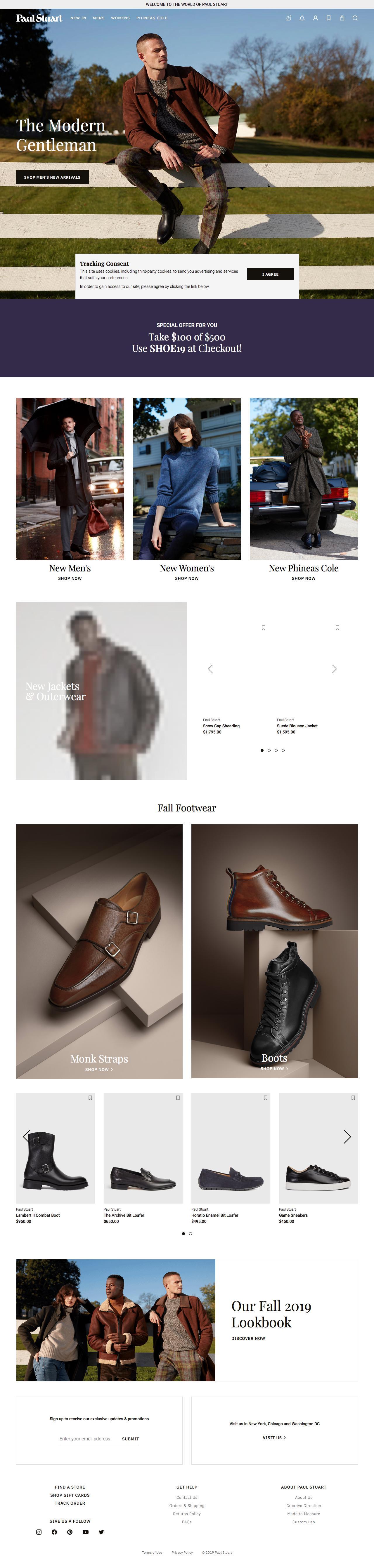 Screenshot of paulstuart.com - Paul Stuart — Modern Classics, Shop Men's and Women's, Clothing and Accessories. - captured Nov. 7, 2019