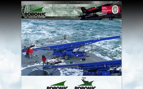 Screenshot of Home Page robonic.fi - Robonic Ltd Oy - The Premier UAS Launch Systems House - captured Oct. 7, 2014