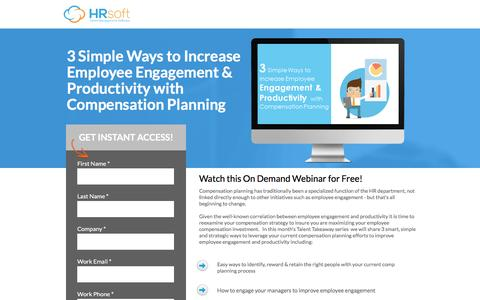 Screenshot of Landing Page hrsoft.com - 3 Ways to Increase Engagement & Productivity with Compensation Planning - captured Sept. 6, 2016