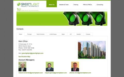Screenshot of Team Page greenlightpm.com - Contacts - GreenlightPM - captured Oct. 3, 2014
