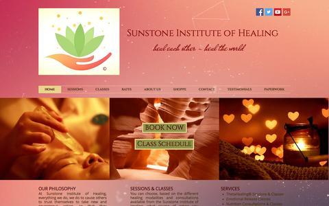 Screenshot of Home Page sunstoneinstitute.com - Sunstone Institute of Healing - captured Nov. 18, 2016