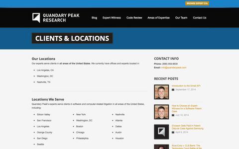 Screenshot of Locations Page quandarypeak.com - Clients & Locations - Software Expert Witnesses & Litigation Consultants - captured Oct. 2, 2014