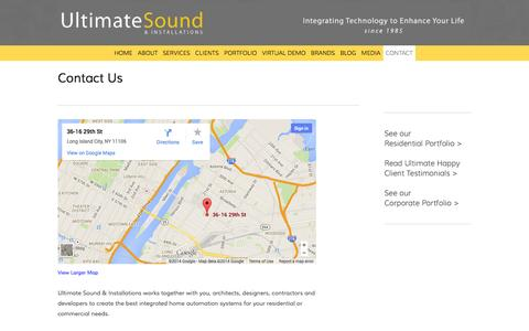 Screenshot of Contact Page ultimateinstallations.com - Contact — Queens AV Installation NYC, Home Theater NYC, Astoria TV Installation NYC, Ultimate Sound and Installations NYC - captured Oct. 27, 2014