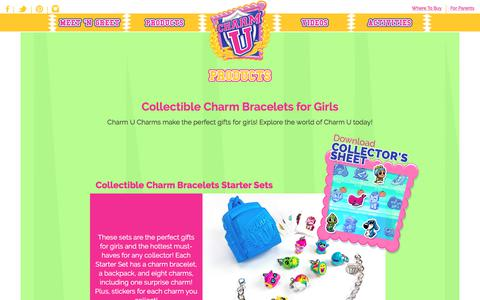 Screenshot of Products Page charmucharms.com - Charm U | Gifts for Girls | Children's Collectible Charms and Bracelets | - captured July 8, 2018