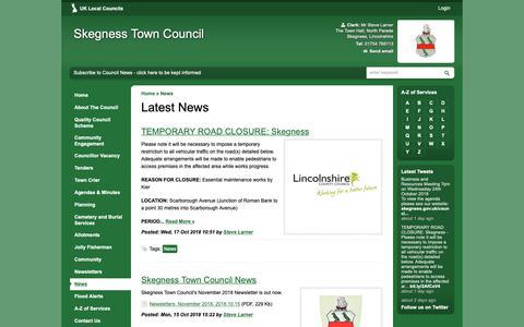 Screenshot of Press Page skegness.gov.uk - Latest News | Skegness Town Council - captured Oct. 18, 2018