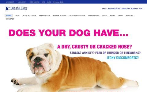 Screenshot of Home Page theblissfuldog.com - Dry Dog Nose, Rough Dog Paws & Dog Elbow Calluses Balms - captured Jan. 11, 2016