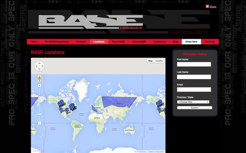 Screenshot of Locations Page basehockey.ca - Performance Centres - BASE Hockey - Custom Hockey Sticks - captured Sept. 30, 2014