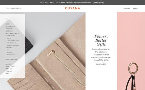 Screenshot of Home Page cuyana.com - Cuyana | Women's Premium Essentials. | Fewer, Better Things. - captured Dec. 17, 2015
