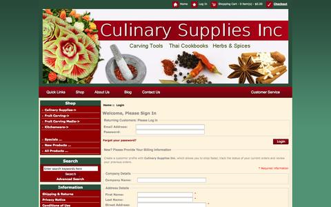 Screenshot of Login Page culinarysupplies.org - Login : Culinary Supplies Knives Garnish Tools Fruit Carving Supplies - captured Oct. 3, 2014
