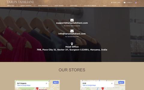 Screenshot of Contact Page taruntahiliani.com - Contact Us: Tarun Tahiliani Tarun Tahiliani - captured Oct. 27, 2014