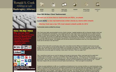 Screenshot of Testimonials Page libankruptcyattorney.com - Contact LIBankruptcyAttorney.com - Ronald S. Cook - captured Nov. 5, 2014