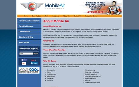 Screenshot of About Page mobileair.com - About Mobile Air | Mobile Air - Portable Air Conditioner and Heater Rental - captured Jan. 21, 2016