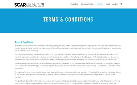 Screenshot of Terms Page scarguard.com - Terms & Conditions | Scarguard for Scars, Scarring and  Bruises - captured Nov. 19, 2016