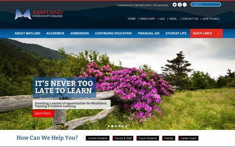 Screenshot of Home Page mayland.edu - Mayland | - captured Oct. 17, 2018