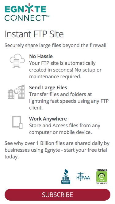 Set up an FTP site instantly and easily - Signup for Free 15 day trial