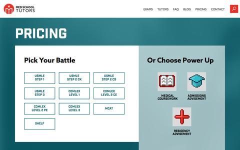 Screenshot of Pricing Page medschooltutors.com - Pricing | Med School Tutors - captured April 27, 2016