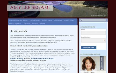Screenshot of Testimonials Page wordpress.com - Testimonials | Amy Lee Segami - captured Sept. 12, 2014