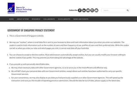 Screenshot of Privacy Page a-star.edu.sg - Agency for Science Technology and Research (A*STAR) > privacy statement - captured Sept. 23, 2018