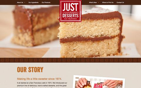 Screenshot of About Page justdesserts.com - Just Desserts: Our Story - captured Jan. 3, 2020