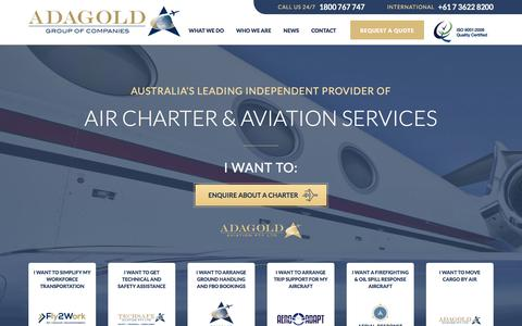 Screenshot of Home Page adagold.com.au - Adagold Aviation | Air Charter & Aviation Solutions Australia - captured Feb. 5, 2016