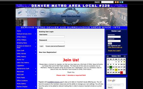 Screenshot of Login Page denverapwu.com - Denver Metro Area Local APWU - captured Oct. 4, 2014