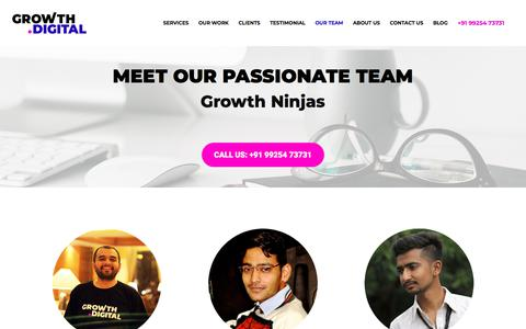 Screenshot of Team Page growth.digital - Our Team - Growth Dot Digital - A full-service Digital Marketing Agency - captured July 17, 2018
