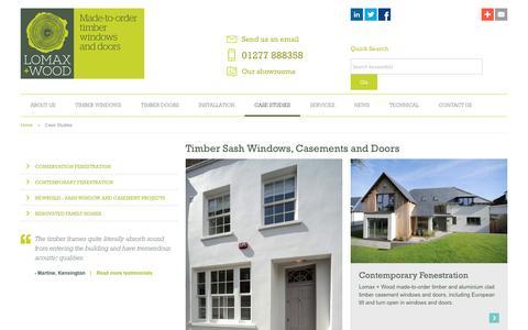Screenshot of Case Studies Page lomaxwood.co.uk - Timber Sash Window and Door | Sash Windows | Case studies - captured Nov. 13, 2016